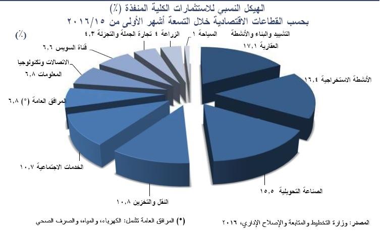 هيكل الاستثمارات المنفذة في مصر