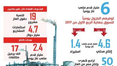 كميات الغاز المنتجة والمستوردة