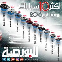 اكثر 10 سيارت مبيعاً في 2016