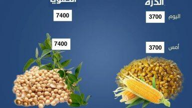 اسعار الذرة والصويا اليوم الخميس