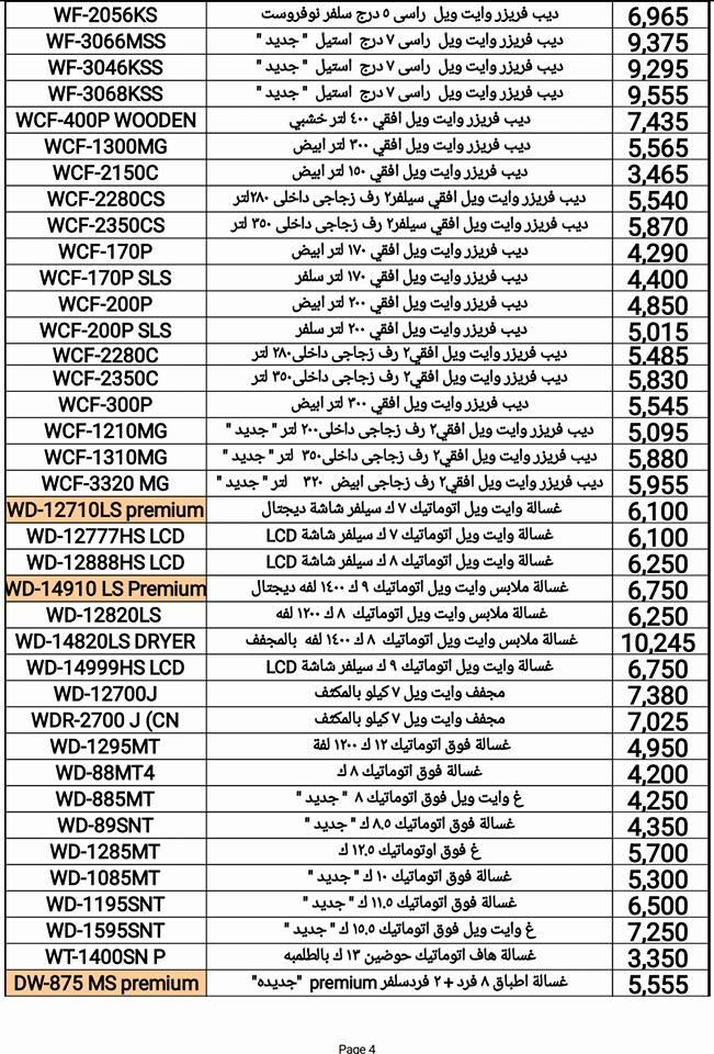قائمة أسعار الأجهزة الكهربائية من وايت ويل فى يوليو 2017 (6)