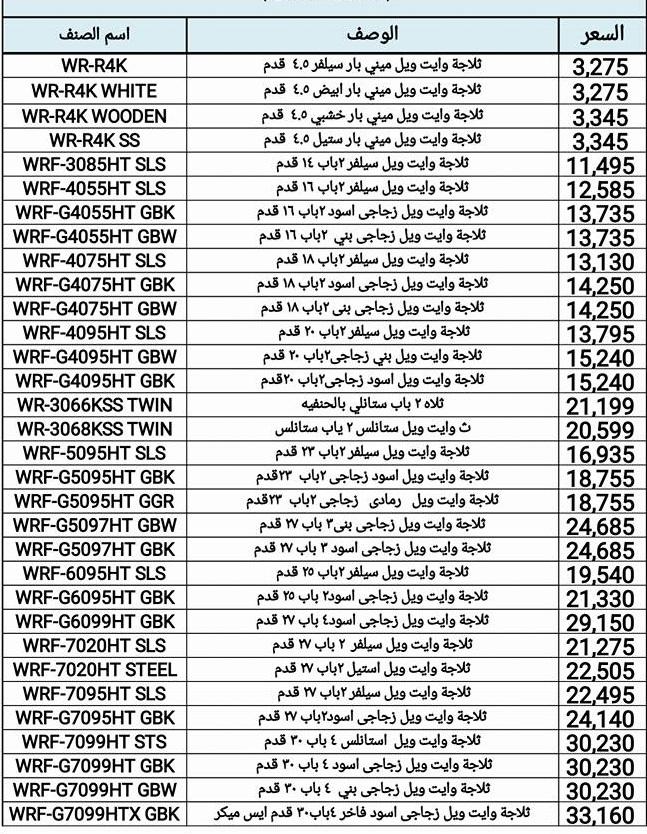 قائمة أسعار الأجهزة الكهربائية من وايت ويل فى يوليو 2017 (1)