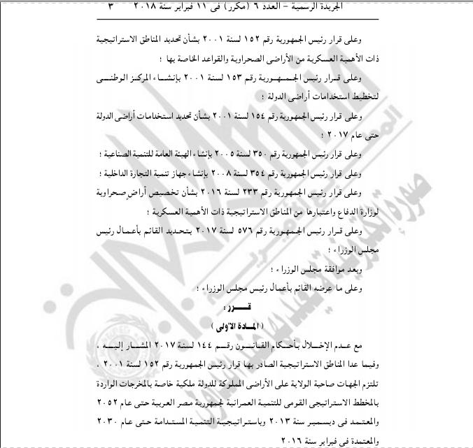 خريطة تنمية أراضي جمهورية مصر العربية