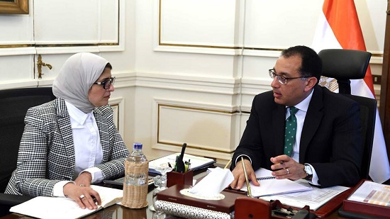 مصطفى مدبولى و هالة زايد وزيرة الصحة
