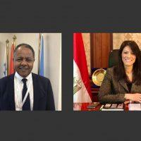 رانيا المشاط وزيرة التعاون و منجيستاب هايلى ممثل برنامج الأغذية العالمى فى مصر